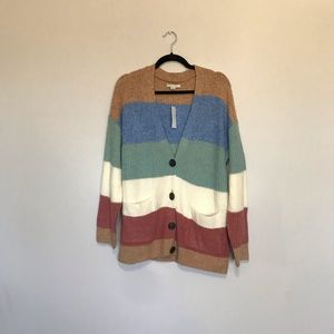 American Eagle Outfitters Striped Button Cardigan